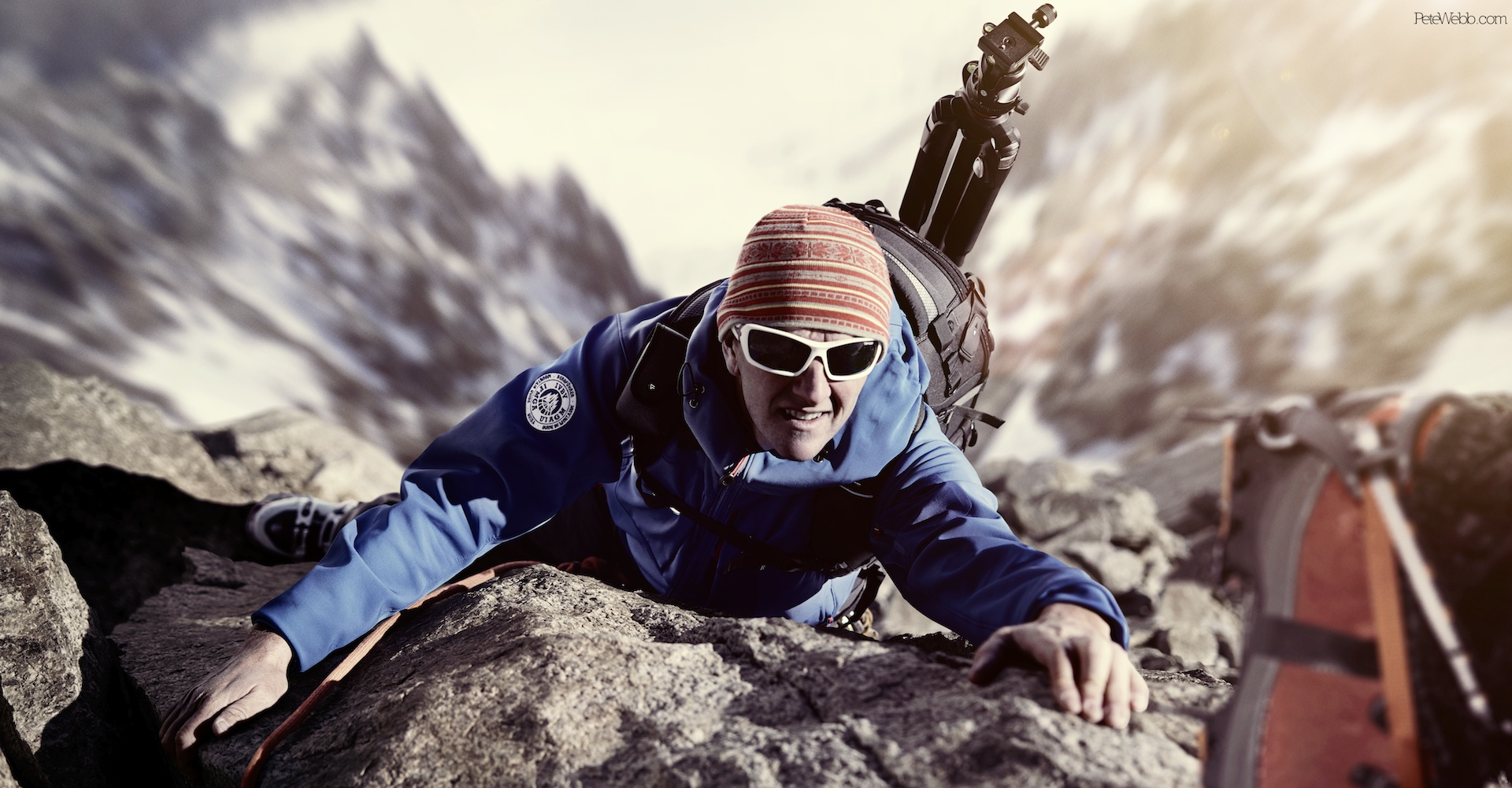 A dramatic shot of mountaineer Jonny Baird created with 4 images retouched by Happy Finish, shot on the Phase One 645DF+ with the IQ260.