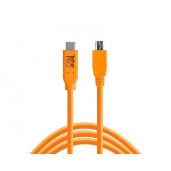 Tethertools cuc2415-org tetherpro usb-c to 2.0 mini-b 5-pin, 15′ (4.6m) orange cable