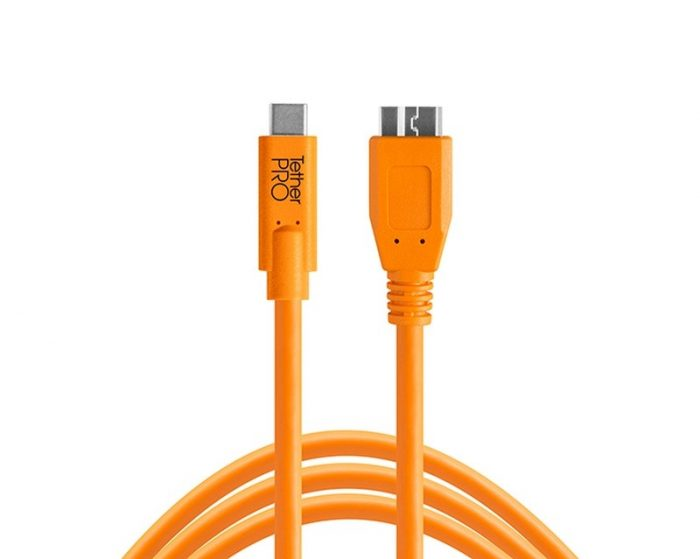 Tethertools cuc3315-org tetherpro usb-c to 3.0 micro-b, 15′ (4.6m) orange cable