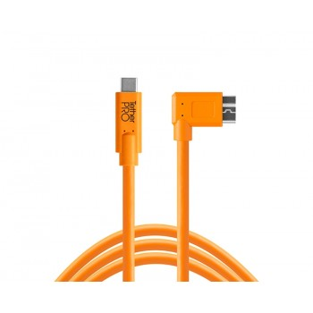 Tethertools cuc33r15-org tetherpro usb-c to 3.0 micro-b right angle, 15′ (4.6m) orange cable