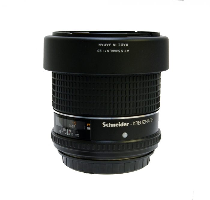 Used phase schneider 55mm f2.8 leaf shutter c/w hood (boxed) silver ring