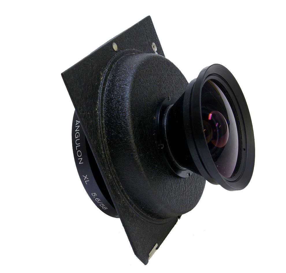 Used schneider super angulon xl 58mm f5.6 with linhof/wista type recess panel