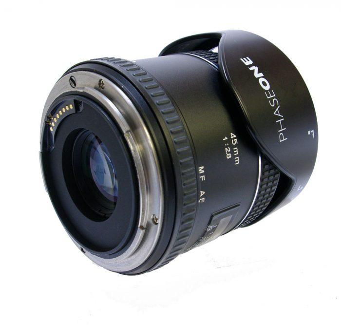 Used phase one 45mm f2.8 af w.lens hood