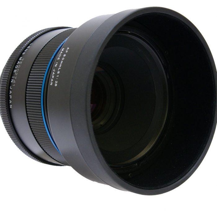 schneider kreuznach 80mm f2.8 leaf shutter blue ring inc lens hood