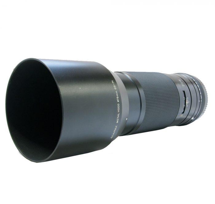 contax 645 sonnar 210mm f4 t* cw contax metal lens hood gb-74 + case