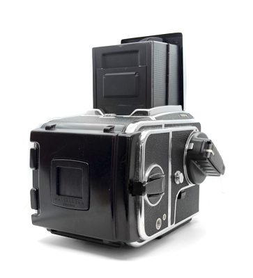 Hasselblad 503cw camera with waist level finder, manual winder and a12 6×6 roll film back