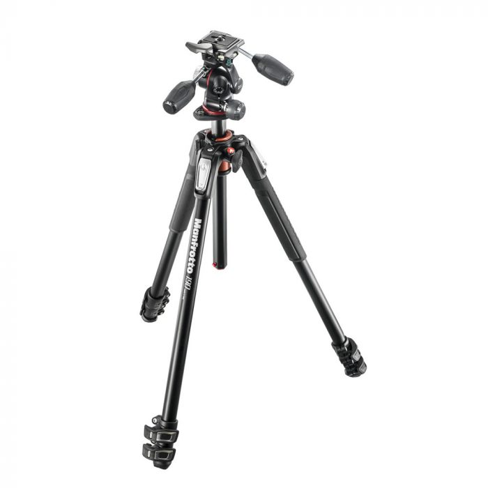 Manfrotto190aluminium3 sectiontripodwith3 wayhead